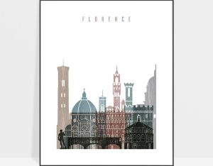 Florence skyline poster distressed 1