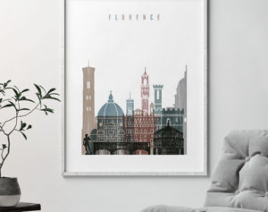 Florence skyline poster distressed 1 second