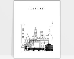 Florence black and white skyline poster