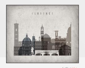 Florence art print landscape retro