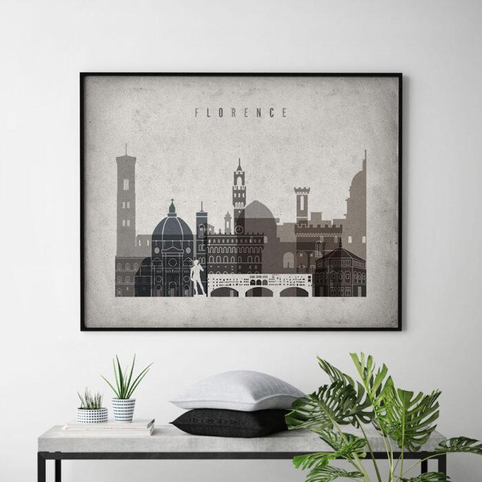 Florence art print landscape retro second