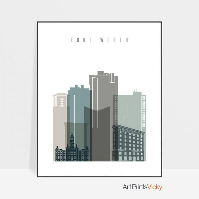 Fort Worth art print skyline earth tones 4