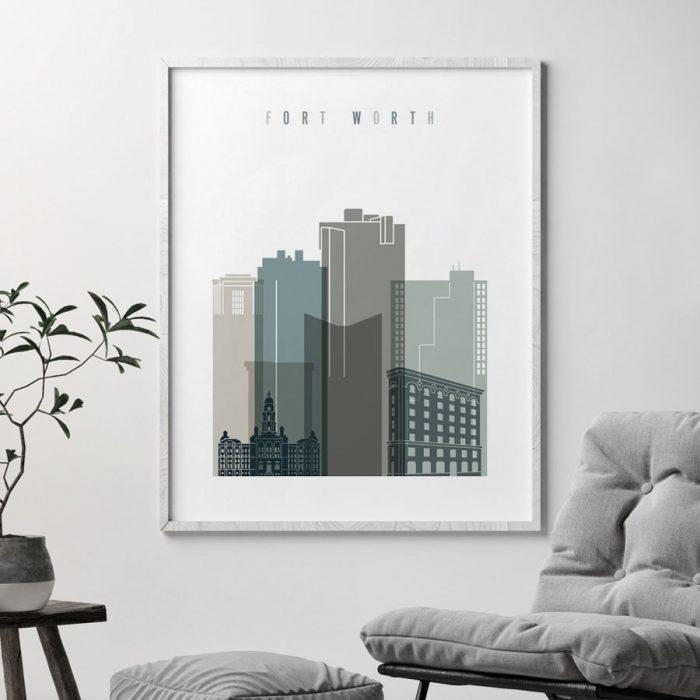 Fort Worth art print skyline earth tones 4 second