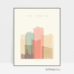 Fort Worth art print skyline pastel cream