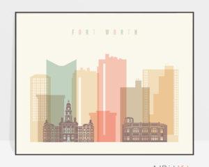 Fort Worth poster skyline pastel cream landscape