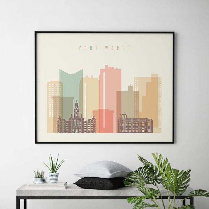 Fort Worth poster skyline pastel cream landscape second