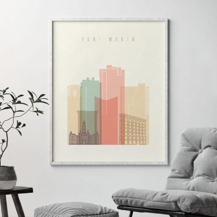 Fort Worth art print skyline pastel cream second