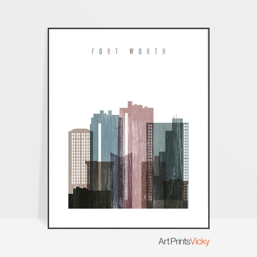 Fort Worth skyline poster distressed 1