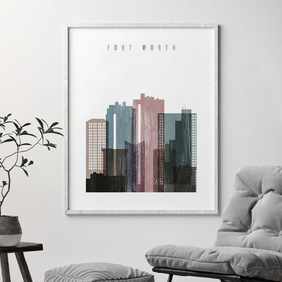 Fort Worth skyline poster distressed 1 second