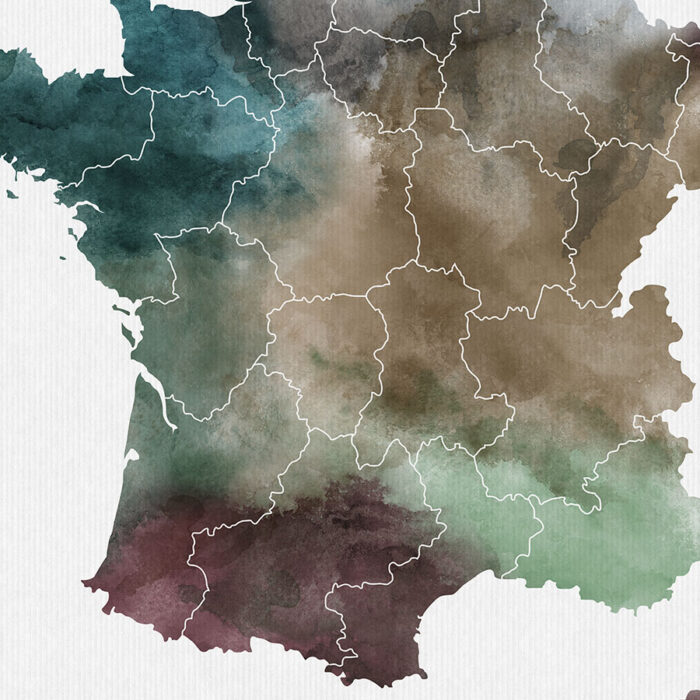 France map print detail