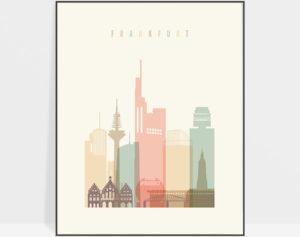 Frankfurt art print skyline pastel cream