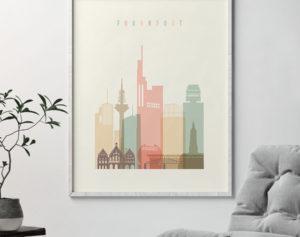 Frankfurt art print skyline pastel cream second