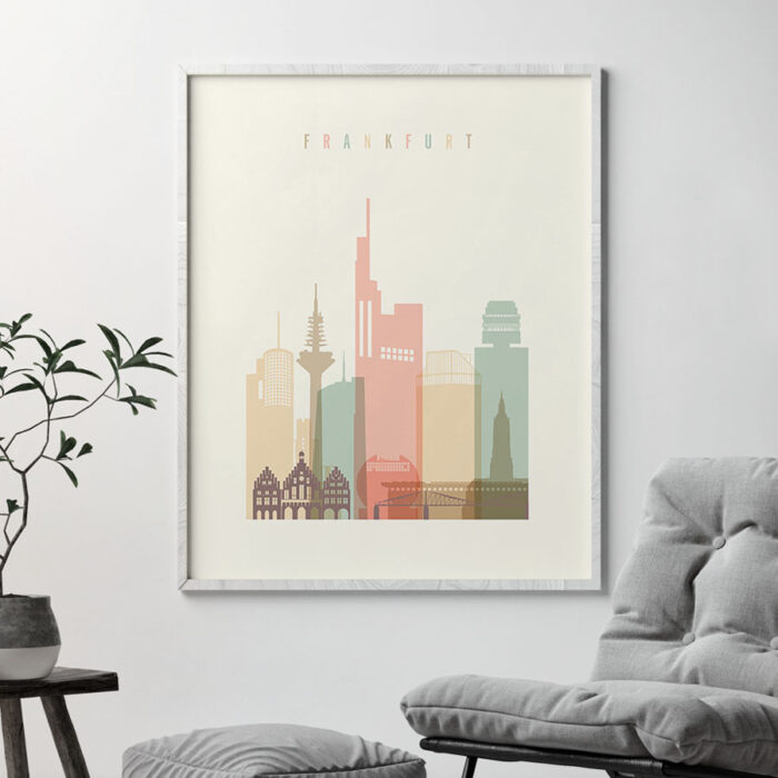 Frankfurt art print skyline pastel cream second
