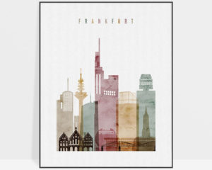 Frankfurt skyline poster watercolor 1