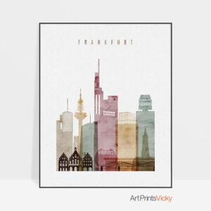 Frankfurt skyline poster watercolor 1
