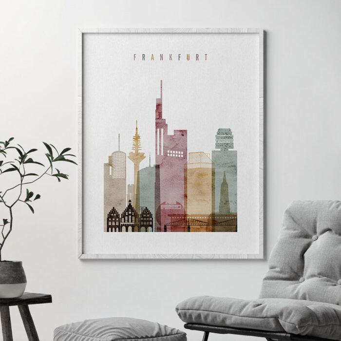 Frankfurt skyline poster watercolor 1 second