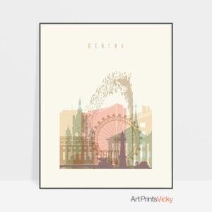 Geneva art print skyline pastel cream