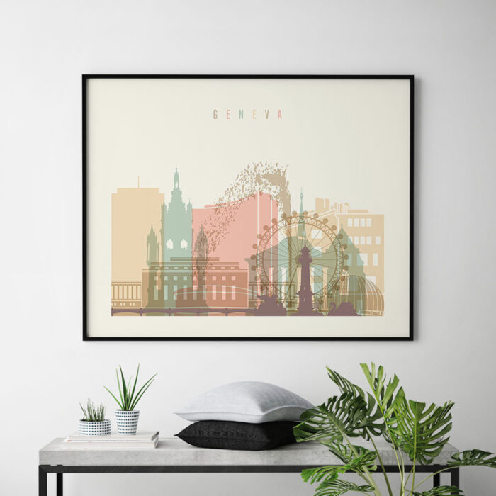 Geneva skyline art pastel cream landscape second