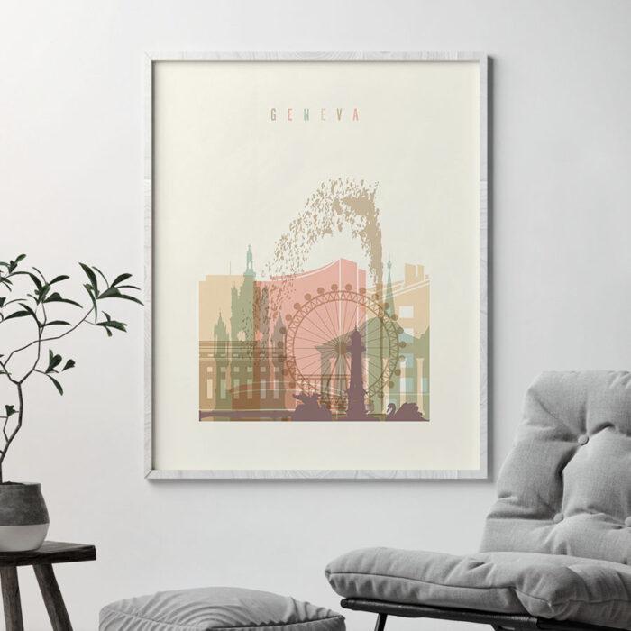 Geneva art print skyline pastel cream second