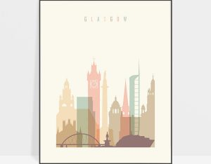 Glasgow art print skyline pastel cream