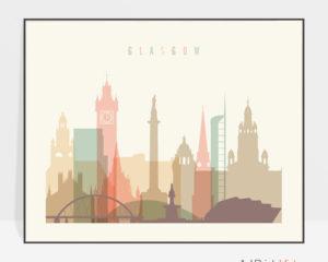 Glasgow poster skyline pastel cream landscape