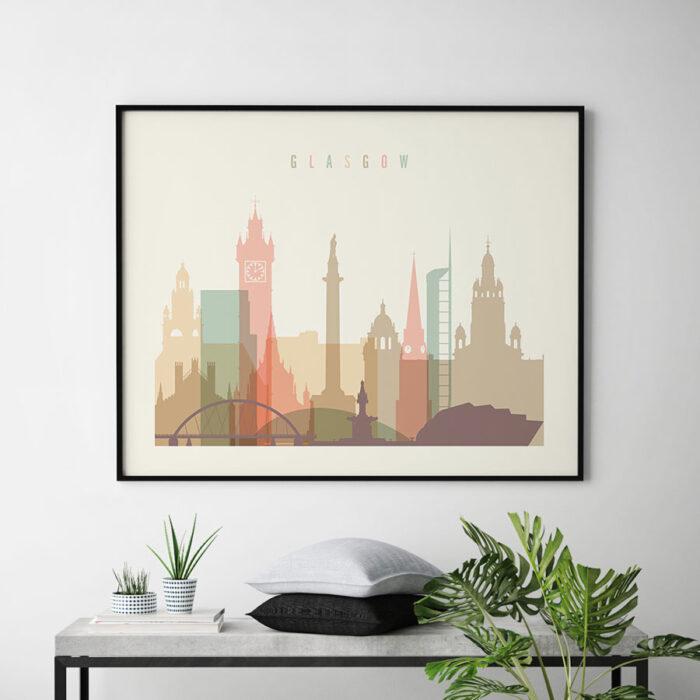 Glasgow poster skyline pastel cream landscape second