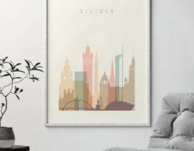 Glasgow art print skyline pastel cream second