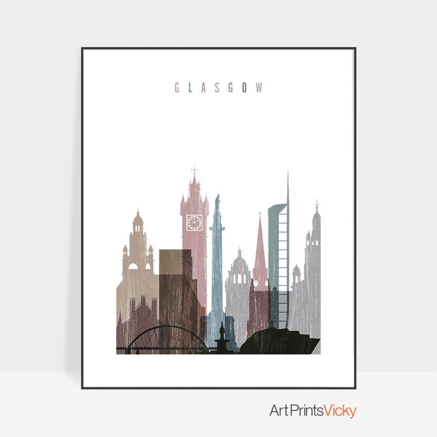 Glasgow skyline poster distressed 1