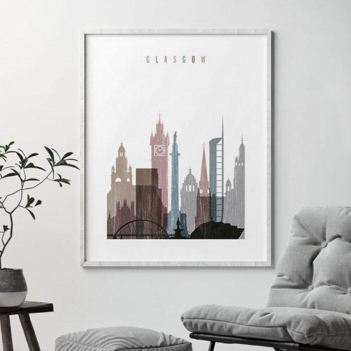 Glasgow skyline poster distressed 1 second
