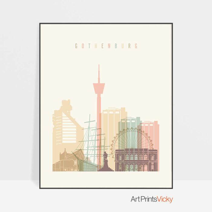 Gothenburg art print skyline pastel cream