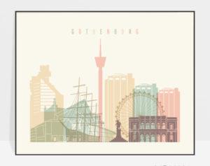 Gothenburg travel poster pastel cream landscape