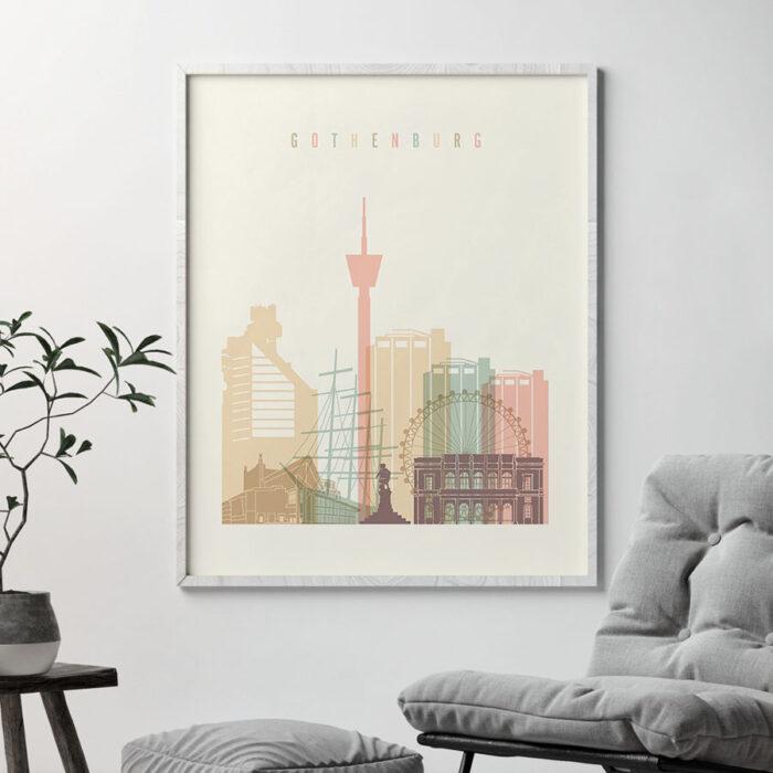 Gothenburg art print skyline pastel cream second