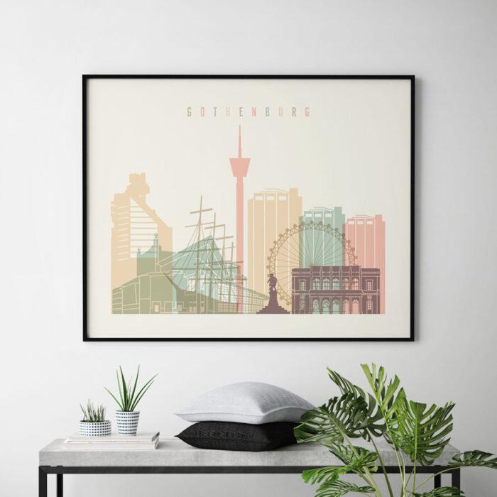 Gothenburg travel poster pastel cream landscape second