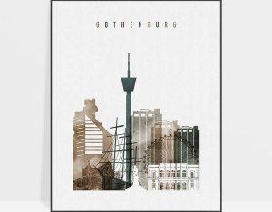 Gothenburg skyline poster watercolor 2