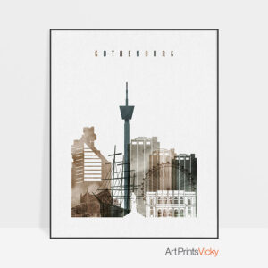 Gothenburg skyline poster watercolor 2