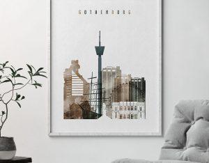 Gothenburg skyline poster watercolor 2 second