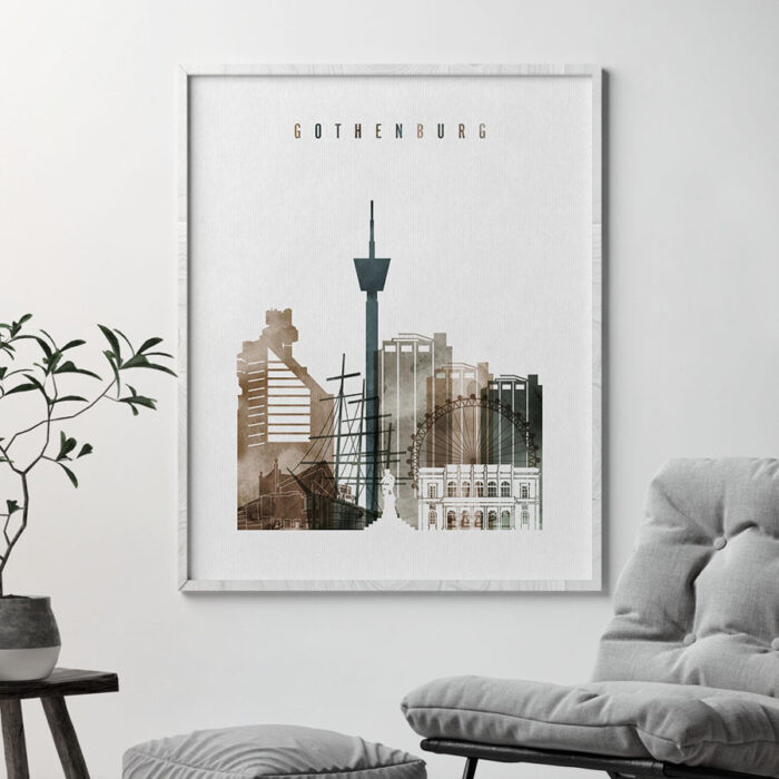 Gothenburg skyline poster watercolor 2 second
