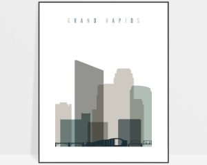Grand Rapids art print skyline earth tones 4