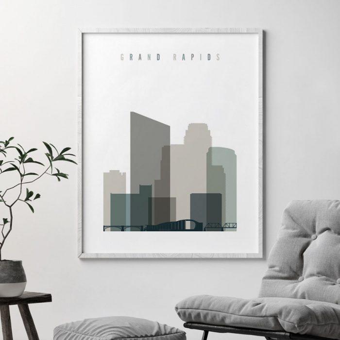 Grand Rapids art print skyline earth tones 4 second