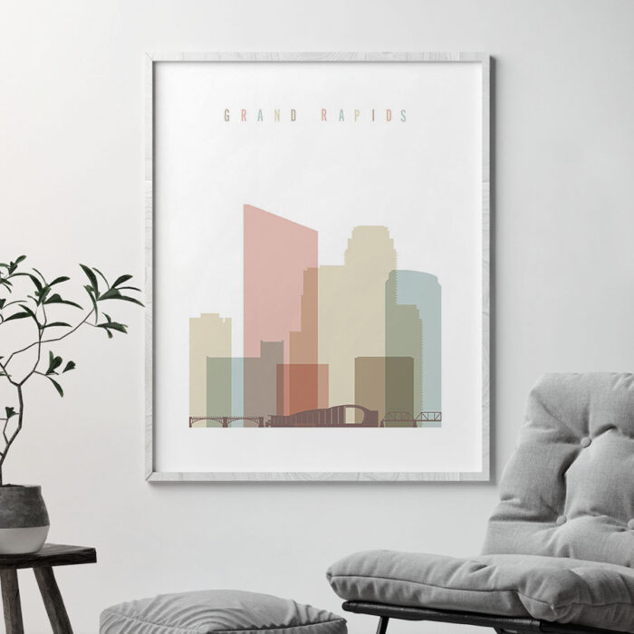 Grand Rapids wall art pastel white second