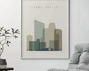 Grand Rapids print skyline earth tones 1 second