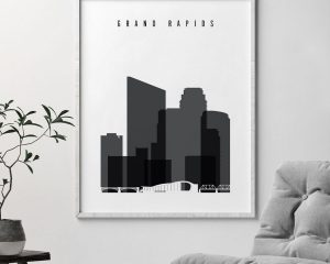 Grand Rapids skyline black and white art second
