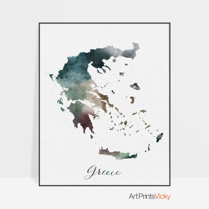 Greece map print