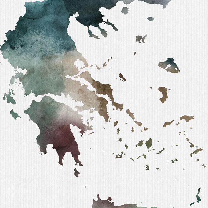 Greece map print detail