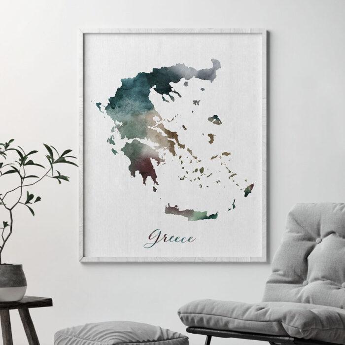Greece map print second