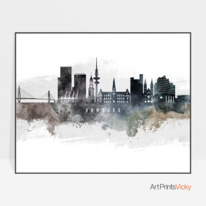 Hamburg art poster watercolor