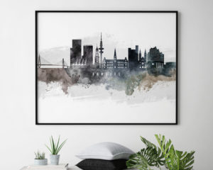 Hamburg art poster watercolor second photo by ArtPrintsVicky