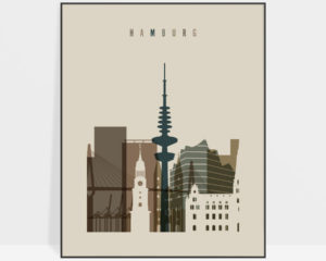 Hamburg art print earth tones 3