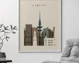 Hamburg art print earth tones 3 second