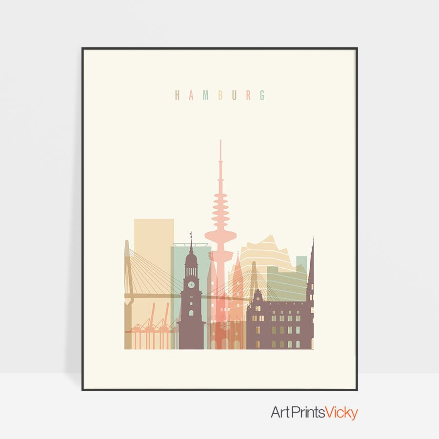 Hamburg art print skyline pastel cream